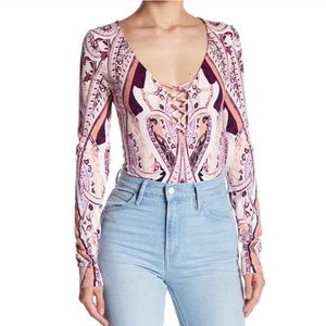 Free People Pick a Place Paisley  Bodysuit Small